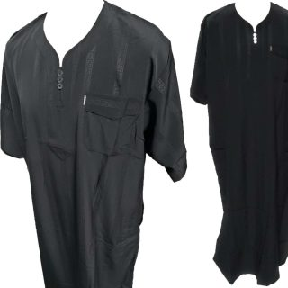 Men's Omani Emaratee Style Short-Sleeve Thobe Black