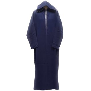 Men's Navy Blue Winter Wool Hooded Long Sleeve Thobe