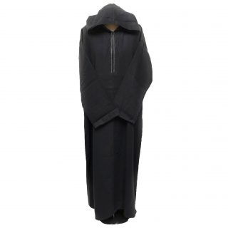 Men's Black Winter Wool Hooded Long Sleeve Thobe