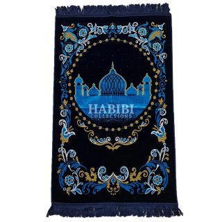 Navy Blue Islamic Floral Masjid Al Nabawi Prayer Mat