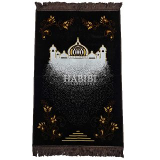 Brown Islamic Masjid Floral Prayer Mat