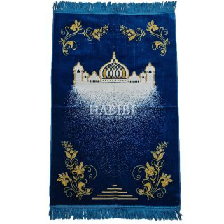 Blue Islamic Masjid Floral Prayer Mat