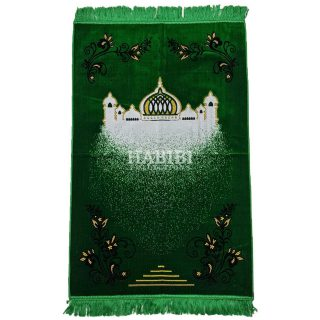 Green Islamic Masjid Floral Prayer Mat