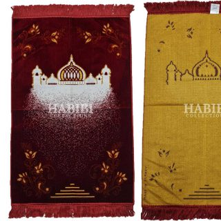 Red Islamic Masjid Floral Prayer Mat