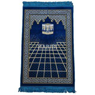 Royal Blue Islamic Masjid Square Pattern Prayer Mat