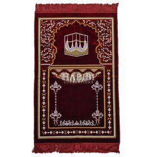 Maroon Islamic Masjid Flower Pillars Prayer Mat