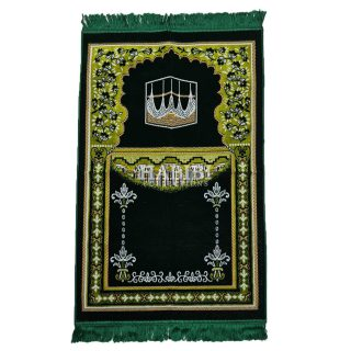 Dark Green Islamic Masjid Flower Pillars Prayer Mat