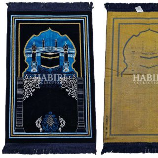 Navy Blue Islamic Kaaba Pillars Prayer Mat