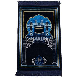 Navy Blue Islamic Kaaba Pillars Prayer Mat