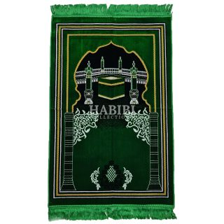 Light Green Islamic Kaaba Pillars Prayer Mat
