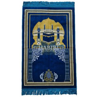 Royal Blue Islamic Kaaba Pillars Prayer Mat