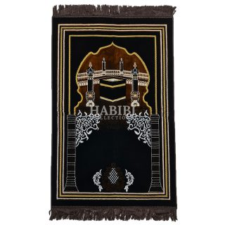 Brown Islamic Kaaba Pillars Prayer Mat