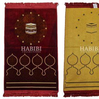Maroon Islamic Kaaba Masjid Floral Prayer Mat