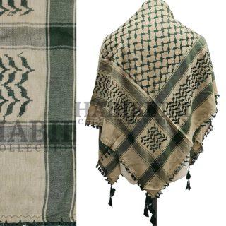 Green/Beige Shemagh Arab Head Scarf Wrap Arafat Keffiyeh Yashmagh