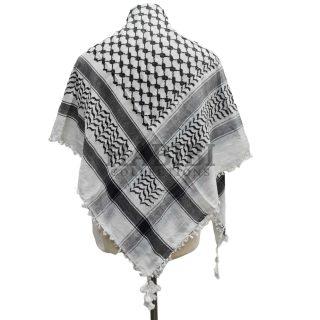 Black/White Shemagh Arab Head Scarf Wrap Arafat Keffiyeh Yashmagh