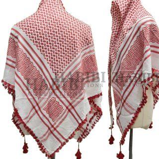 Red/White Shemagh Arab Head Scarf Wrap Arafat Keffiyeh Yashmagh
