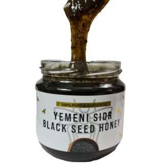 Yemeni Sidr Black Seed Honey Pure & Authentic. A gift of Black Seed Honey for health and well being. This is power booster, excellent honey combined with black seed and ginger. This is more like a paste, thick & slightly runny. Black cumin contains 100 healing components which work together in a synergetic effect. That means they all complement each other in the process of aiding our body. 100% Pure and Raw Suitable for Vegetarians Packed with antioxidants and antibacterial compounds Organic (No chemicals or Preservatives used) Known to prevent over 20 known illnesses including cancer and infections Ingredients: Pure Yemeni Sidr Honey from Wadi Doani, Black Seed Grain (Nigella), Ginger Bee Pollen Seed.