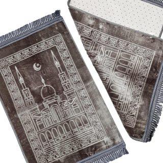 Islamic Sponge Padded Masjid Moon & Star Grey/Silver Non-Slip Prayer Mat