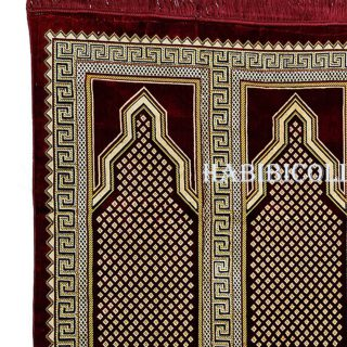 4-5 People Extra Large Maroon Islamic Prayer Mat Designer Geometric Pattern