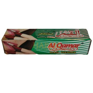 Al Qamar is an Instant Henna tattoo paste - can be used on Nails and Hands - it will take half an hour to dry and wash it off with water to get a dark burgandy colour design. The larger henna Tube is made to be used on hands The small henna tube is made to be used on Nails The henna tattoo will last for 4 to 10 days depending on the water usage Please note this item is not to be used on face or any sensitive area A PATCH TEST IS STRICTLY RECOMMENDED FOR ALL USERS, AS THIS BRAND CONTAINS A STRONG HINT OF CLOVE OIL. IF SKIN REACTION OCCURS, IMMEDIATELY WASH WITH WATER & STOP USING