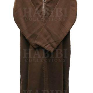 Brn 004 Brown Mens Moroccan Long Sleeve Wide Wool Jubba Thobe.jpg1