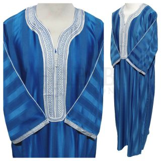 Moroccan 3 Quarter Sleeve Blue Cotton Blend Thobe