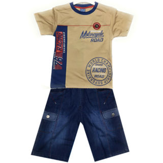 Boys Cotton Shirt Tops + Jeans Shorts Blue HabibiCollections