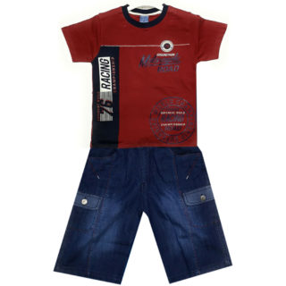 Boys Red Cotton Shirt Tops + Jeans Shorts Blue HabibiCollections