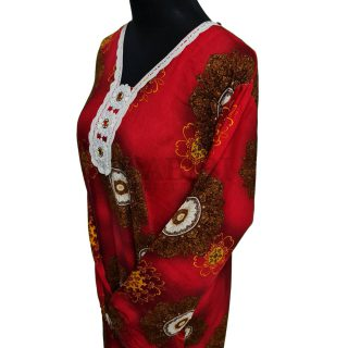 Women's Maroon Diamante Floral Kaftan Abaya Dress