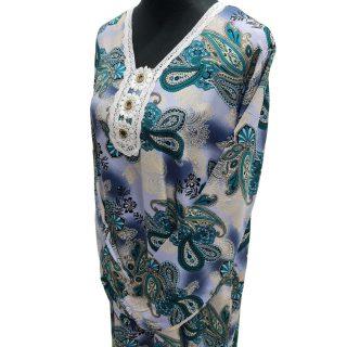 Women's Blue Sequin Kaftan Floral Striped Pattern