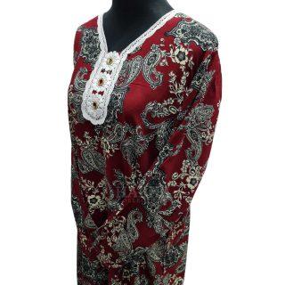 Women's Maroon Sequin Kaftan Floral Striped Pattern