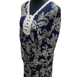 Women's Navy Blue Sequin Kaftan Floral Striped Pattern