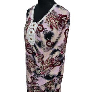 Women's Pink/Maroon Sequin Kaftan Floral Striped Pattern