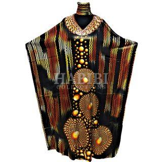 Women's Black/Orange Sequin Kaftan Free Size Geometric Swirl Pattern