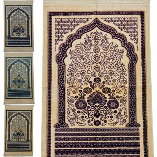 Super Soft Mosaic Floral Islamic Prayer Mat Jannamaz Musallah