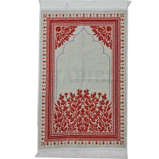 Turkish Off-White Super Soft Islamic Prayer Mat Jannamaz Musalla