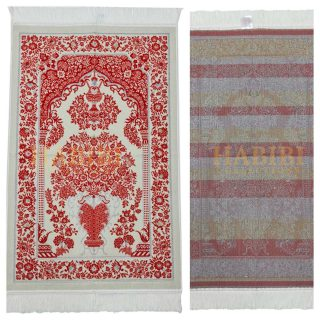 Turkish Super Soft Flower Vase Islamic Prayer Mat Jannamaz Musallah