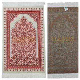 Red Floral Pattern Prayer Mat Musallah Janamaz