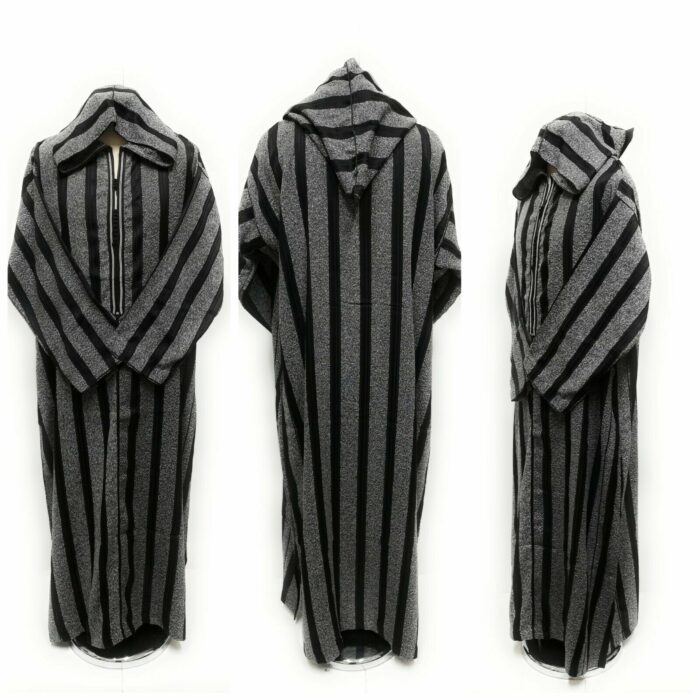 Moroccan Long Sleeve Hooded Thobe Jacket Striped Black/Grey