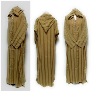 Moroccan Long Sleeve Hooded Thobe Striped Mustard Gold