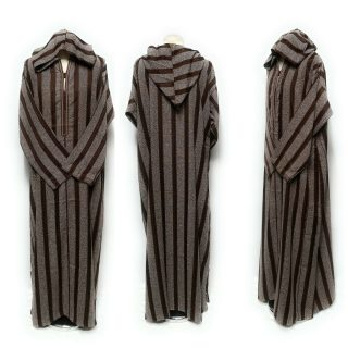 Moroccan Long Sleeve Hooded Thobe Striped Brown