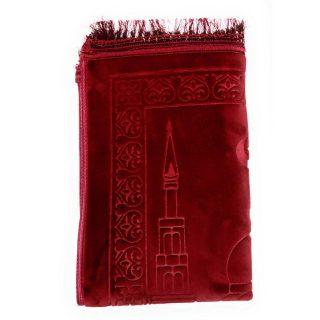 Bouncy Sponge Padded Masjid Moon & Star Dark Red Non-Slip Prayer Mat