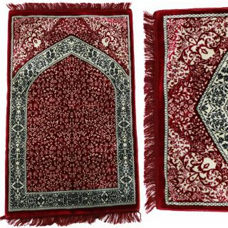 "1"" Thick Luxury Soft Sponge Padded Islamic Prayer Mat - Red/Black"