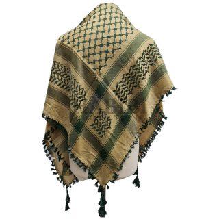 Green/Gold Shemagh Arab Head Scarf Wrap Arafat Keffiyeh Yashmagh