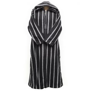 Thick Moroccan Winter Wool Hooded Thobe Striped Black/White