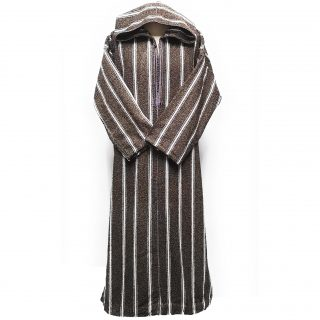 Moroccan Winter Wool Hooded Thobe Striped Brown/White