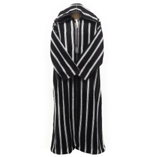 Extremely Thick Moroccan Winter Wool Hooded Thobe Striped Black/White