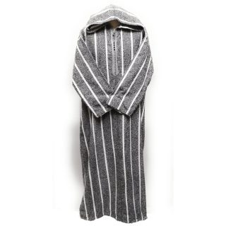 Thick Moroccan Winter Wool Thobe Grey/White