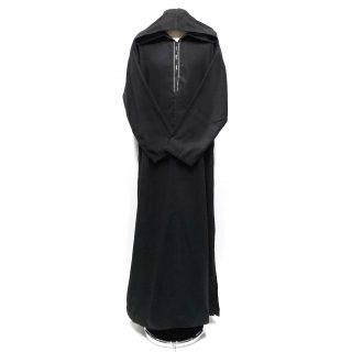 Black Moroccan Wool Hooded Long Sleeve Thobe