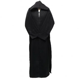 Moroccan Black Wool Hooded Long Sleeve Thobe